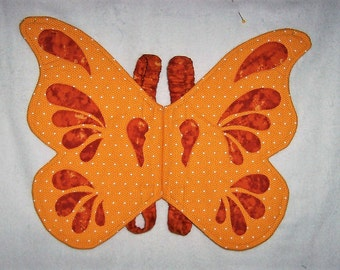 Quilted Fabric Butterfly Wings Costume for Toddler Dress Up Make Believe Orange