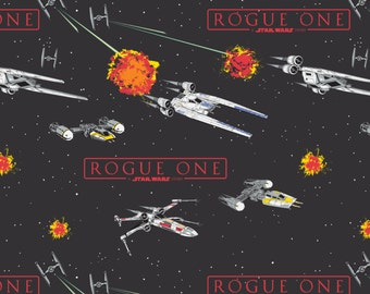 Star Wars fabric - Rogue One Ships - Camelot - black, Star Wars, galatic, empire, darth vader, jedi, the force, grey