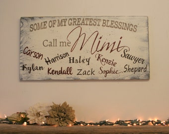 Grandma Gift Some Of My Greatest Blessings Call Me Grandma Mimi Wood Sign Mothers Day Gift Distressed Wood Wall Decor Grandparents Handmade