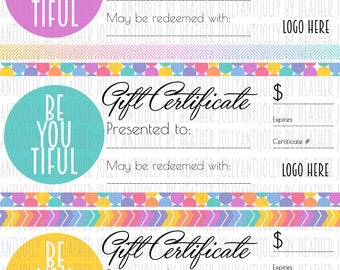 Retailer/Consultant Gift Certificates 8.5x11 - 3up  *****Digital Files*****