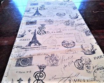 Table Runner, Script Table Linen, French Eiffel Tower, Navy Blue Table Cloth/Scarf, French, Banquet, 14''x72'' Buffet Runner, Dresser Scarf