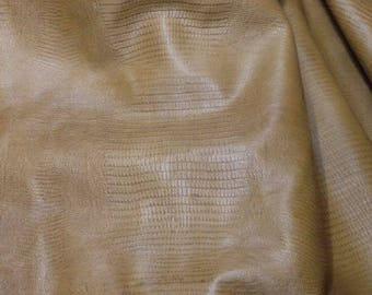 EMB119 Leather Cow Hide Cowhide Craft Fabric Olive Green Embossed Lizard 25 sf FREE SHIPPING