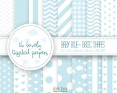 baby digital paper, blue digital paper, pattern digital paper, baby scrapbook, baby blue, hearts, stars, clouds, pattern, commercial Use