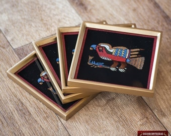 Birds Glass Coaster Set 4 from Peru - Peruvian Glass Coasters, Framed in wood - Handcrafted Birds design - Coaster for drinking