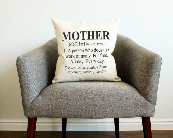 Definition of Mother Pillow - MOTHER'S DAY GIFT, Gift for Her, Gift for Mom, Home Decor, Decorative Pillow, Funny, Humorous, Pillow Cover