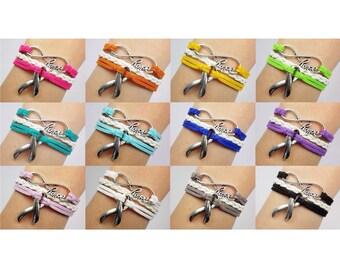 Hope Infinity Cancer Awareness Ribbon Bracelet: Assorted Colors (Send message for multiple/bulk) -- Adjustable Leather Soft Suede Bracelet