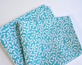 pocket square/cotton/floral aqua blue
