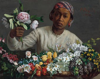 """Frederic Bazille : """"Young Woman with Peonies"""" (1870) - Giclee Fine Art Print"""