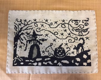 Primitive Halloween Witch completed counted cross stitch
