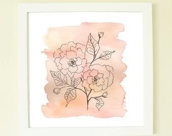 Blush Watercolor Flower, pink artwork