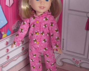 14.5 inch doll clothes bumble bee pink flannel pajamas fits dolls such as Wellie Wishers H4H Betsy McCall other dolls similar build made USA