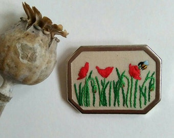 Hand embroidered poppy field brooch
