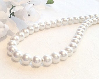 Pearl Necklace, Pearl Jewellery, White Pearl Necklace, Bridesmaid Jewelry, Wedding