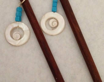 8 inch rosewood ss hair sticks with sterling silver wire wrap turquoise and shiva eye shell beads on each hair stick