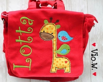 Kindergarten backpack giraffe bird with name