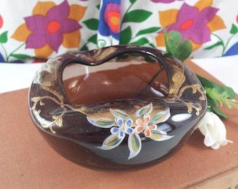 Bohemian Chocolate Glass Ashtray Enameled Flower Decoration