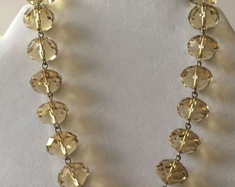 Crystal Beaded Topaz-Colored Necklace