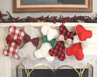 Dog bone stocking, bone-shaped pet stocking, customizable Christmas stocking