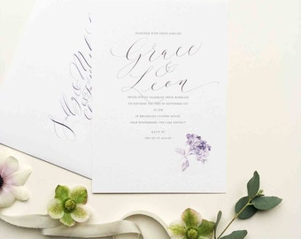 Hydrangea personalised wedding invitation - the timelessly romantic summer favourite