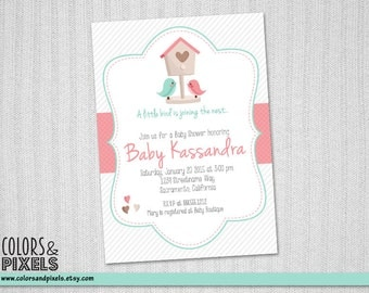 Joining the Nest Baby Shower Invitation, Bird Invite, Baby Shower Printable Invite, DIY Invitation, Invite, Joining the Nest BS016