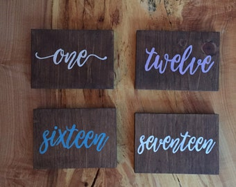 Custom hand painted table numbers