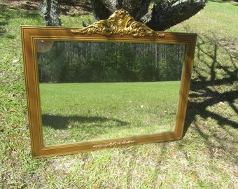 Large Gold Wood Mirror, Antique Mirror, Shabby Decor Mirror, Ornate Mirror, Home Decor,