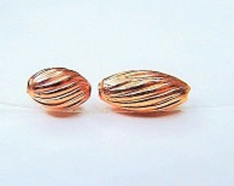 Real Copper Beads Oval Swirl Corrugated 3x5mm - 3x7mm - 4x9mm Approx.100 Beads