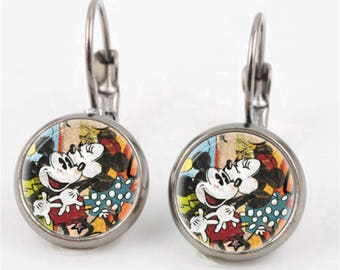 Vintage Mickey and Minnie Earrings or Ring