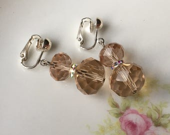 Sparkly Champagne Bridal Dangle Clip On Earrings / Tan Clip Earring / Bridesmaid Earrings / Prom