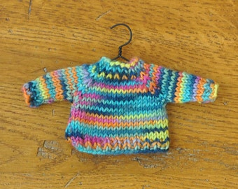 Bright Variegated Hand-Knit Sweater Ornament