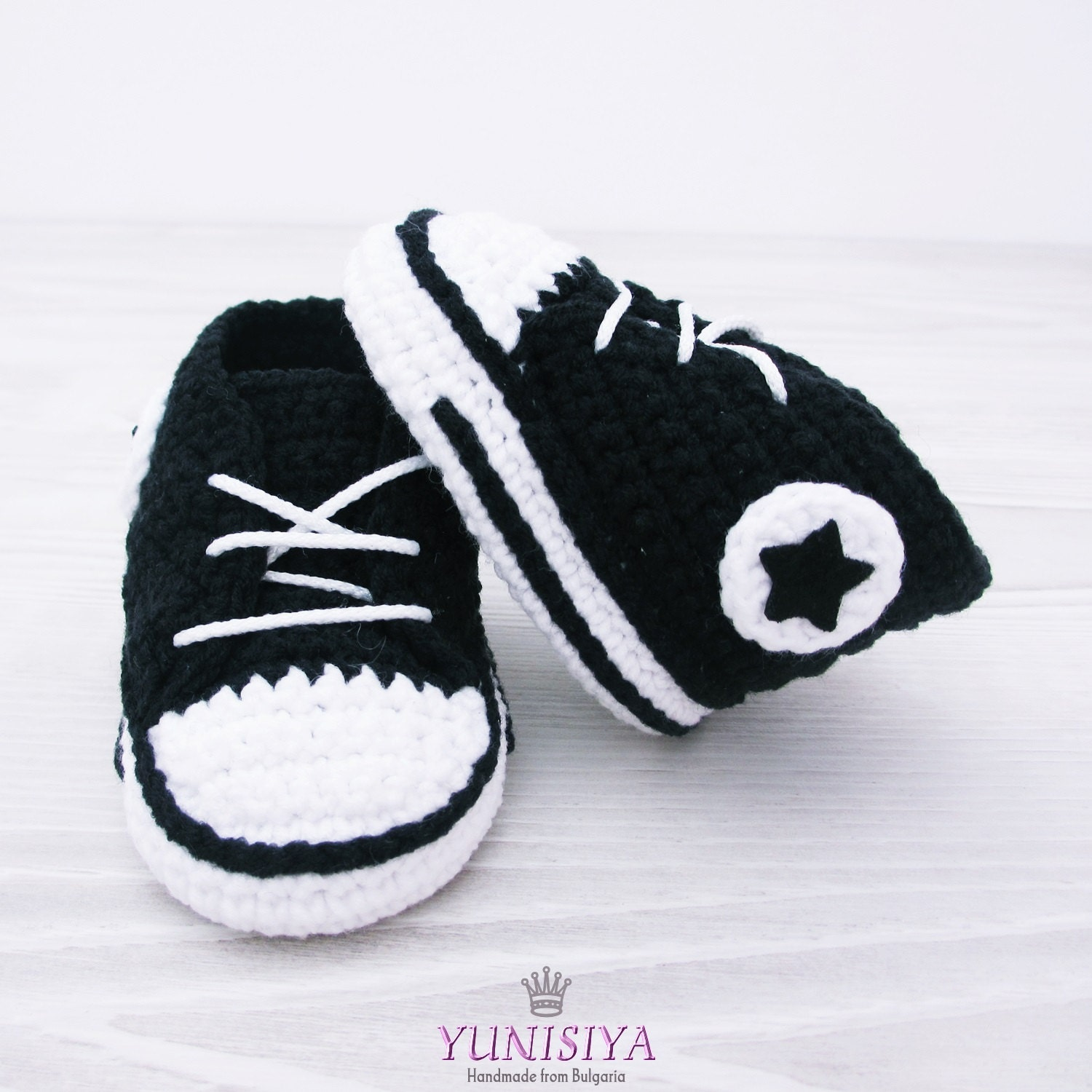 Black crochet baby Converse baby shoes baby sneakers black