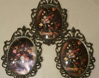 Vintage Italian curved glass and filigree  metal picture frames.