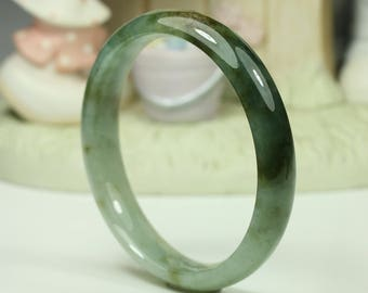 Jadeite Jade Bangle - 58.2mm Green and Honey Brown (Natural Jade)