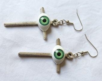 """Dangling earrings. """"Eye Cross"""""""