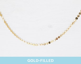 Gold-Filled Choker Necklace // Gold Tag Choker / Gold Disk Choker / Gold Filled Necklace / Gold Choker / Gold Necklace / Everyday necklace