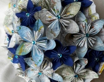 Travel inspired paper flower bouquet for weddings, anniversaries or special events.