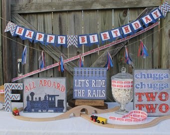 Train themed party decorations