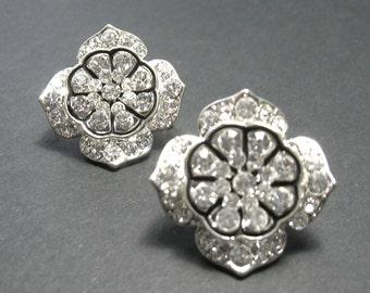 Vintage Clear Crystal Large Studs - Pierced Ears - 1970s - Vintage Earrings