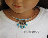 Turquoise Tribal Choker Necklace for 18 inch girl dolls, American Made jewelry, Southwestern Bohemian style, cowgirl outfit, trendy dress up