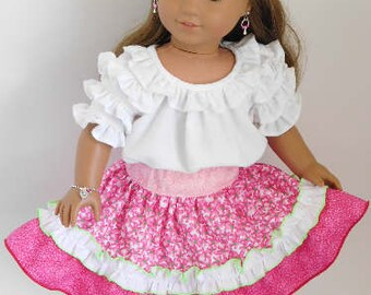 Pink Ruffled Party Skirt for 14-18 inch Girl Dolls, American Made frilly floral circle western square dance, Mexican Fiesta, cowgirl outfit