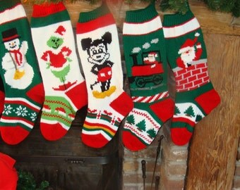 Knitted Christmas Stockings with Mouse, Santa on Train, Santa in Chimney