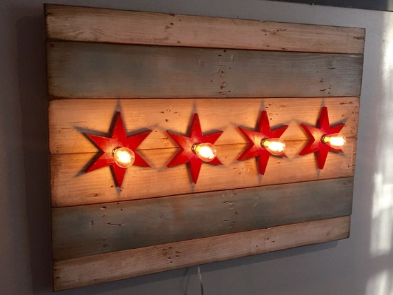 Illuminated Reclaimed Wood Chicago Flag / Illuminated Edison Bulb Chicago  Flag / Distressed Chicago Flag - Illuminated Reclaimed Wood Chicago Flag / Illuminated Edison