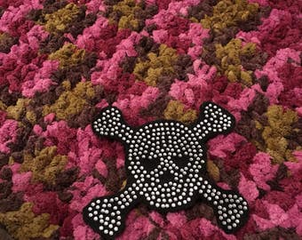 Adorable And Super Soft Crochet Baby Blanket with Bling Skull Aplique