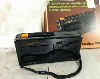 Vintage 2-Speed Lloyd's Micro Cassette Recorder - Original Packaging