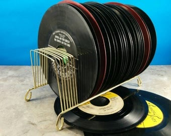 Vintage Instant 45 Record Collection with Gold Wire Stand - Over 25 Records with Holder
