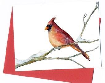 Cardinal Painting/ Card/ Print Original Watercolor Bird art