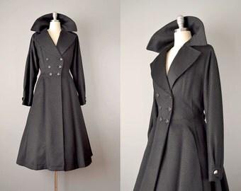 50s Coat // 1950's Black Alpaca Princess Coat // S
