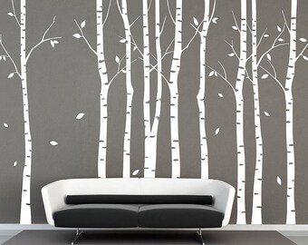 Tree wall decal 9 birch trees decals forest wall decals winter tree wall decal nature wall stickers white tree baby nursery wall sticker