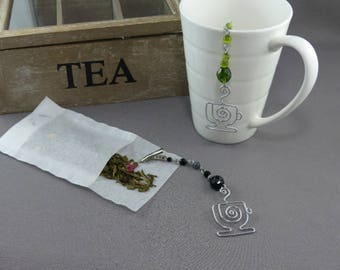 Tea Bag Steeper - Tea Bag Clip with Silver Wire Tea Cup and Glass Beads - Tea Bag Holder - Mother's Day Gift