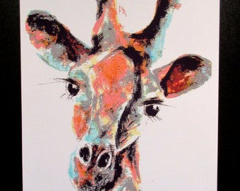 Giraffe..by Suzanne Patterson. A4 signed and dated Art print from one of my original paintings.